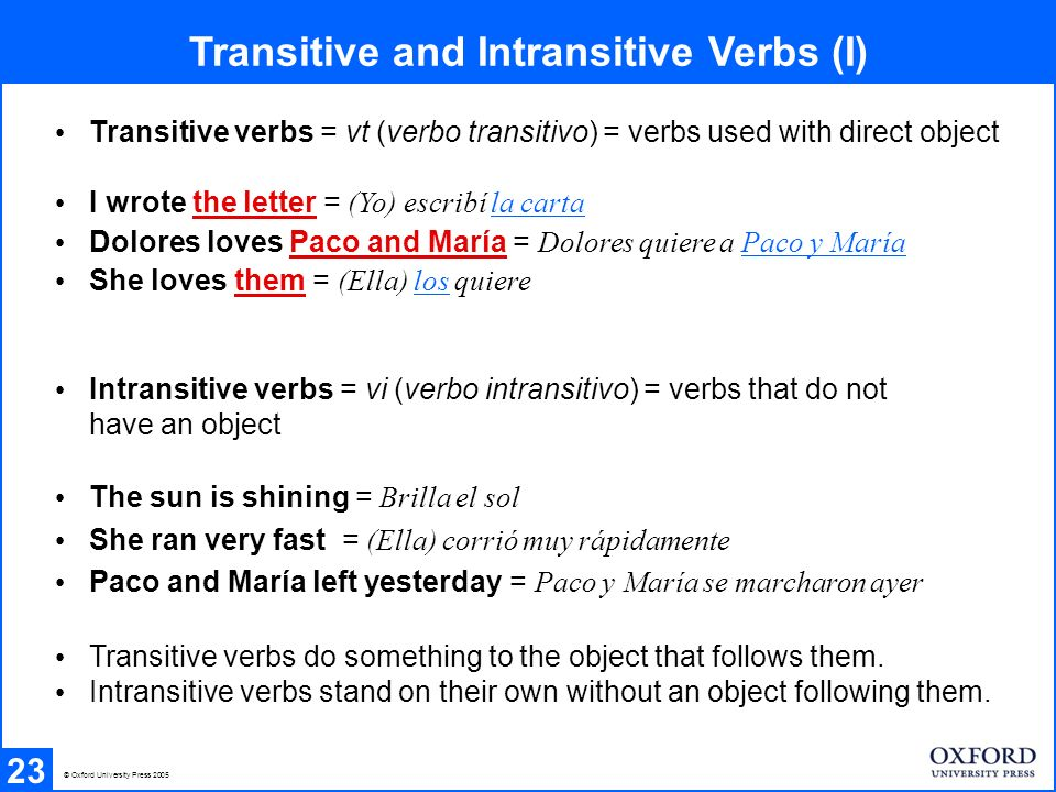 Transitive and Intransitive Verbs (II) 24 The same verb can be used both transitively and intransitively: sacar Sacaron el reportaje They published the report = transitive use (el reportaje = direct object) Te toca a ti sacar Its your turn to serve = intransitive use (no object) entrar Voy a entrar el coche Im just going to put the car away = transitive use (el coche = direct object) En ese moment entró Nicolás Just then Nicolás came in = intransitive use (no object) scatter Scatter some cushions around on the floor = transitive use (some cushions = direct object) The birds scattered = intransitive use (no object) © Oxford University Press 2005 © Oxford Spanish Dictionary 3rd edition 0-19-860475-0