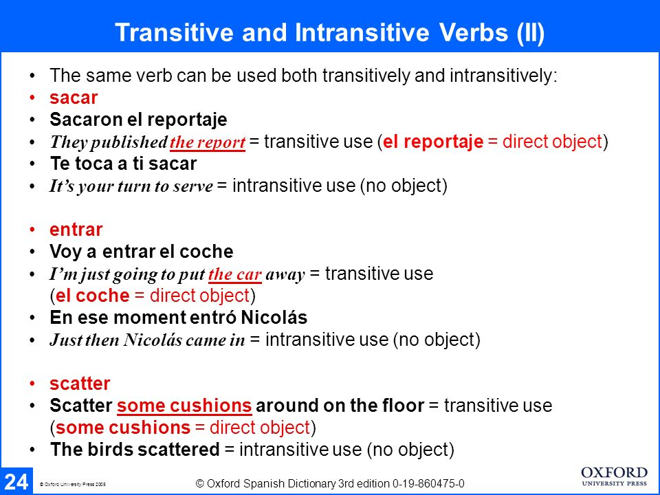 Transitive and Intransitive Verbs Exercise 25 © Oxford Spanish Dictionary 3rd edition 0-19-860475-0 © Oxford University Press 2005 transitive ( vt ) and intransitive ( vi ) esparcir: Él esparció la arena.
