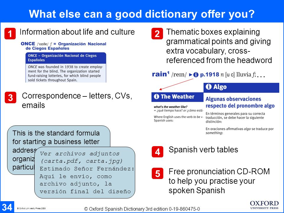 Review (I) 35 Important factors to bear in mind when choosing a bilingual dictionary Navigating through an entry – English-Spanish, then Spanish-English Explaining abbreviations and symbols: How the dictionary can help you with: hyphen and swung dash (or tilde) common grammatical categories subject field labels regional labels register labels sentence patterns phonetics plurals gender idioms word order subjunctive © Oxford University Press 2005