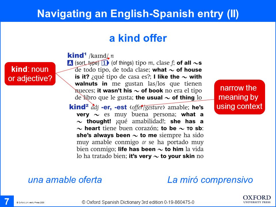 Navigating a Spanish - English entry 8 © Oxford Spanish Dictionary 3rd edition 0-19-860475-0 © Oxford University Press 2005 nouns are listed with their gender warnings of translation traps links to verb tables at back of dictionary