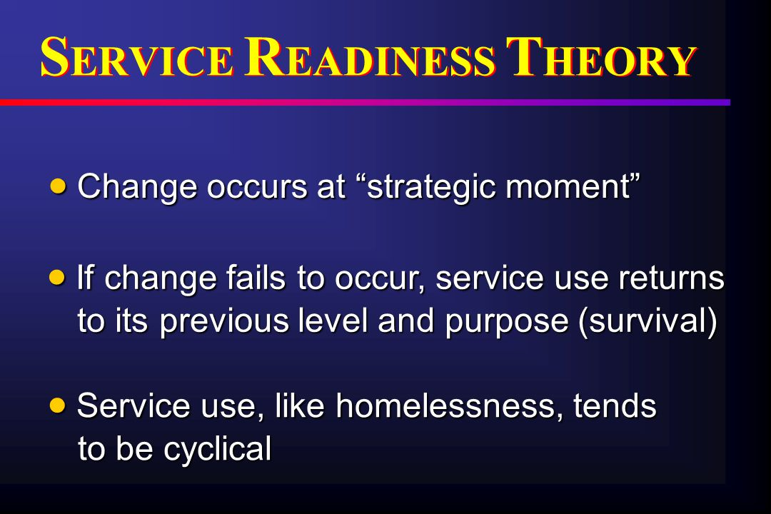 T HEORETICAL M ODEL FOR S ERVICE U SE AND O UTCOMES T HEORETICAL M ODEL FOR S ERVICE U SE AND O UTCOMES Pre-outcome achievement Post-outcome achievement Pre-engagement / Consolidation Stages Engagement Stage Strategic Moment: outcome achieved Consolidation Stage: outcome maintained Disengagement Outcome not maintained No Strategic Moment: outcome not achieved