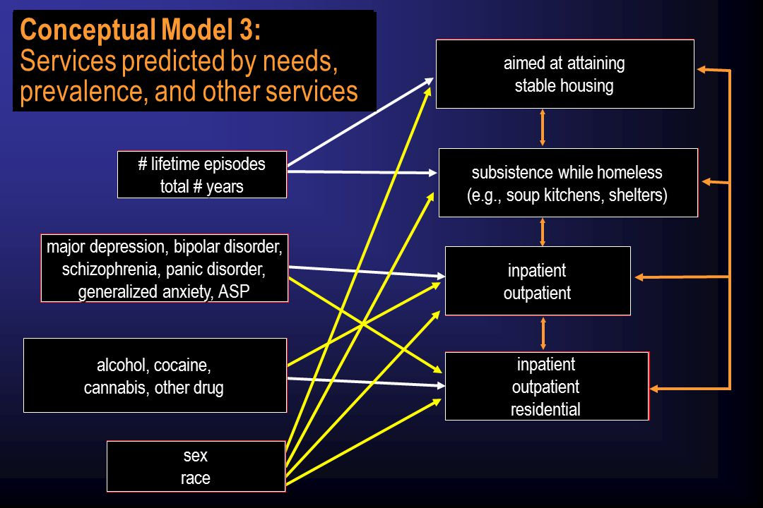 Homeless Amelioration Services Homeless Maintenance Services Mental Health Treatment Substance Abuse Treatment Homelessness Non-substance Psychiatric Disorders Substance Abuse/ Dependence Diagnoses Demographics Significant pathways between any variable and service sector ( lifetime ) Note: Pathways are for analyses of Model 3