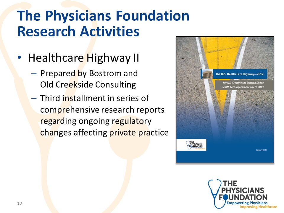 The Physicians Foundation Research Activities Healthcare Highway II – Provides overview of ACA implementation and physician- focused policies, including: Medicare physician fee schedule and the sustainable growth rate Value-based payments and quality ACO growth and Medicare Shared Savings Program Health insurance market reforms Medicaid program expansions – Also highlights various challenges related to federal budget, debt ceiling, healthcare entitlement programs and federal tax policies 11