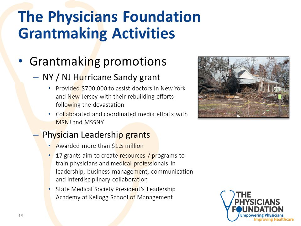 The Physicians Foundation Grantmaking Activities Leadership grant examples: – Awarded $338,135 to Institute for Medical Quality (IMQ) to expand physician leadership program to Texas and Washington, D.C.