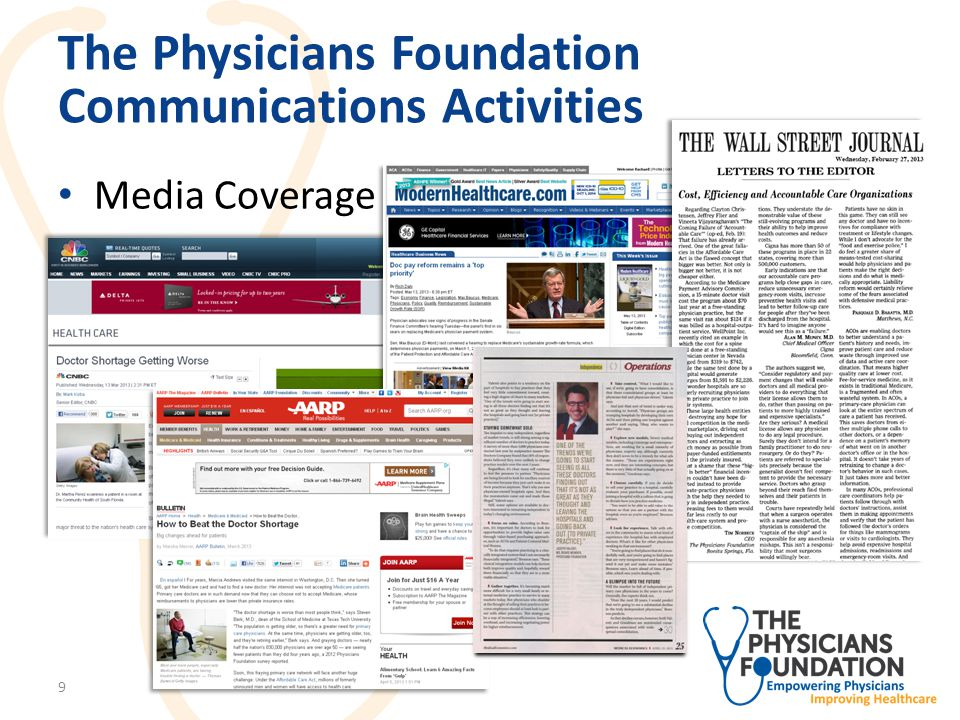 The Physicians Foundation Research Activities Healthcare Highway II – Prepared by Bostrom and Old Creekside Consulting – Third installment in series of comprehensive research reports regarding ongoing regulatory changes affecting private practice 10
