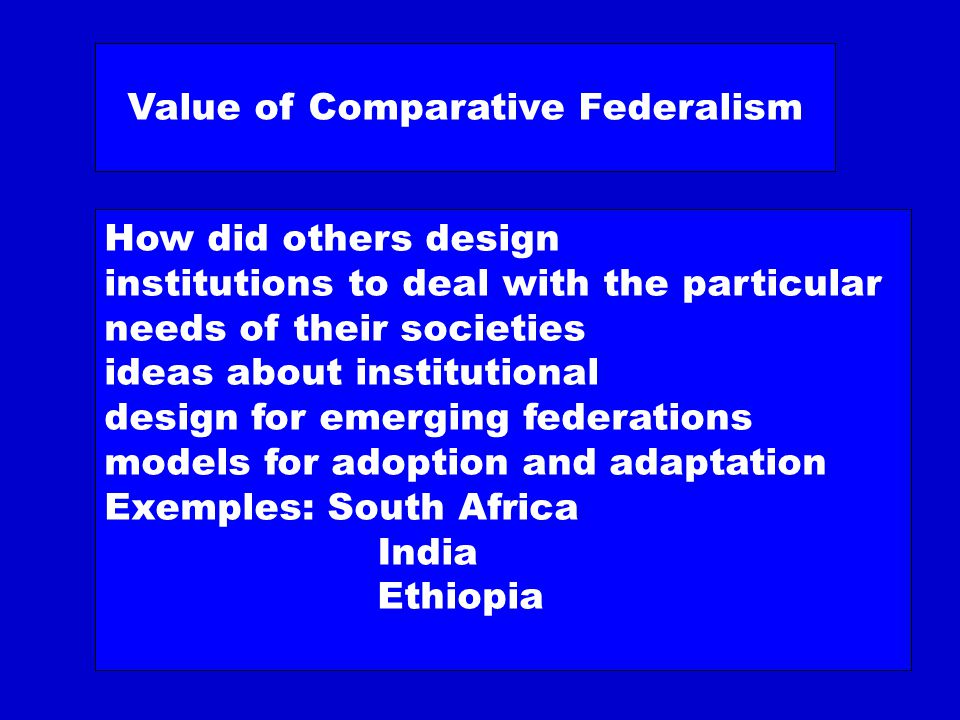 Comparative federalism Comparative constitutionalism now a very hot topic Relevant to: –Making a Constitution –Using a Constitution (in particular, interpretation by courts) Note problems of method Particularly for institutional comparison?