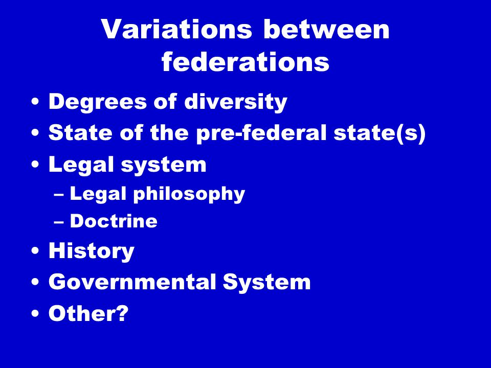 Institutional building blocks: overview A division of powers Two (+) spheres of government A division of resources Constituent representation in central institutions (some) constituent autonomy with own institutions Prescribed common standards in relation to, for example, governance, rights, economic union Entrenched Constitution, effectively enforced