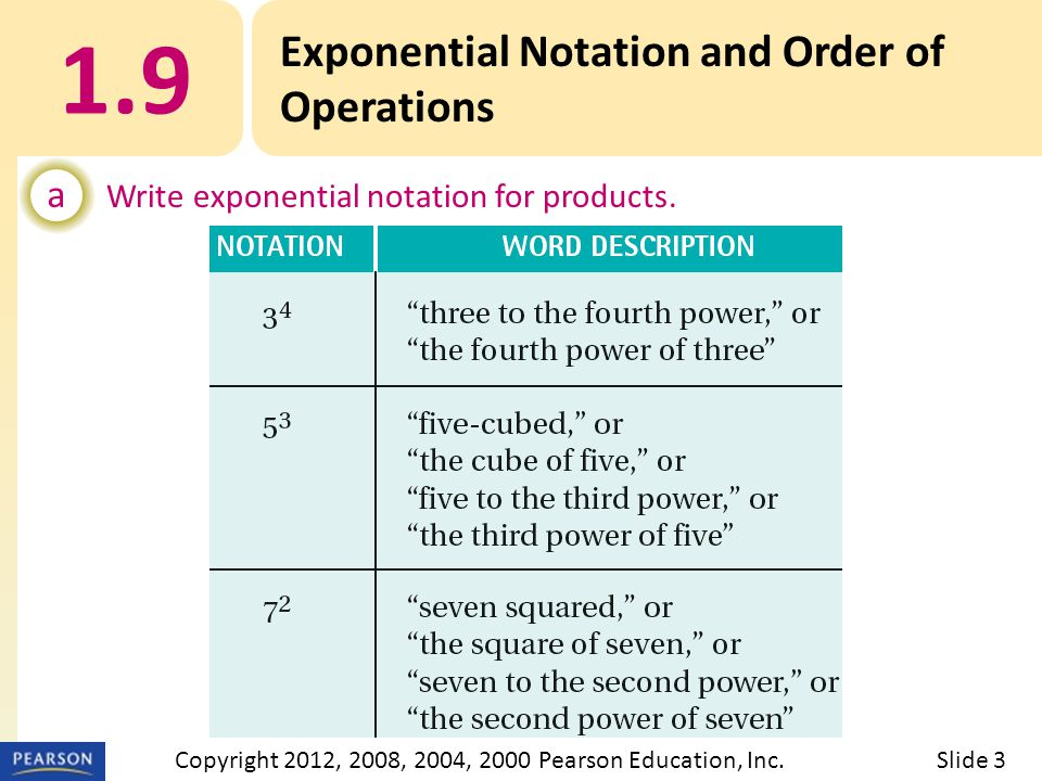 EXAMPLE 1.9 Exponential Notation and Order of Operations a Write exponential notation for products.