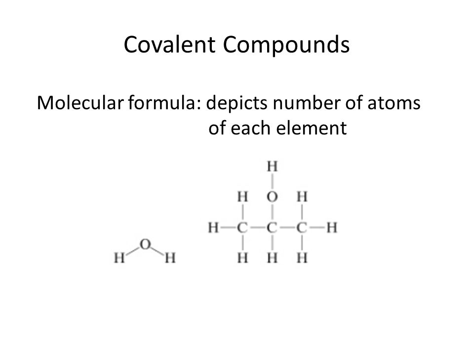 Covalent Compounds Empirical formula: shows simplest integer ratio of atoms of each element molecular formula: empirical formula: