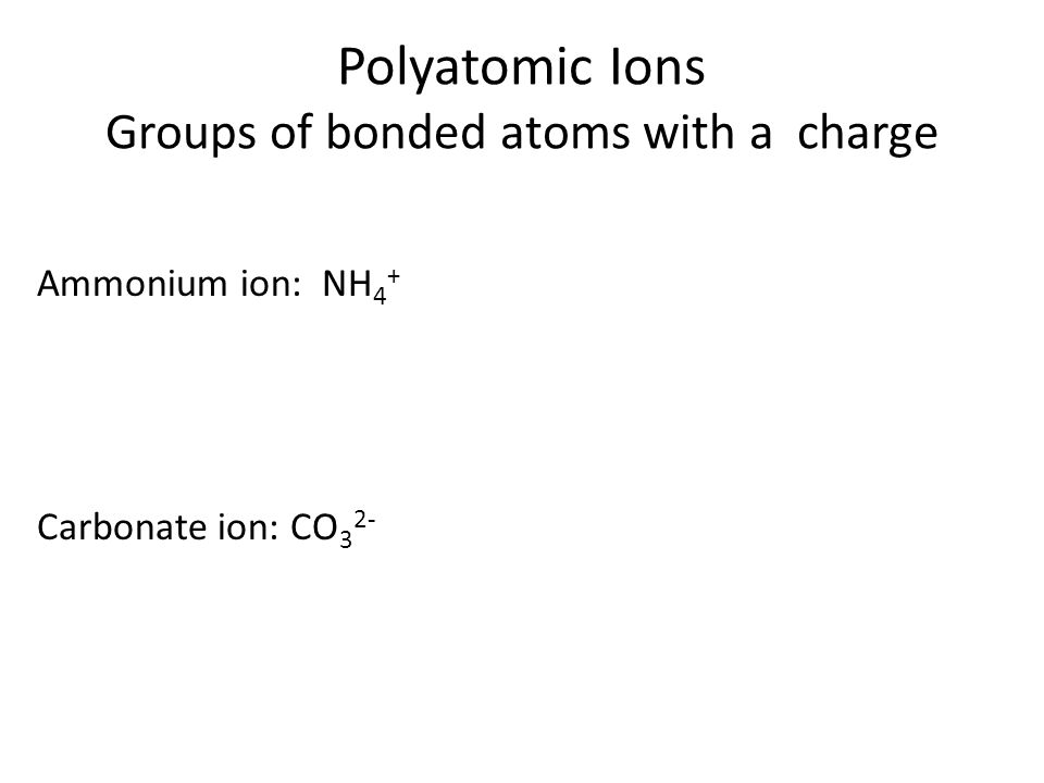 Table 2.4.1: Polyatomic Ions