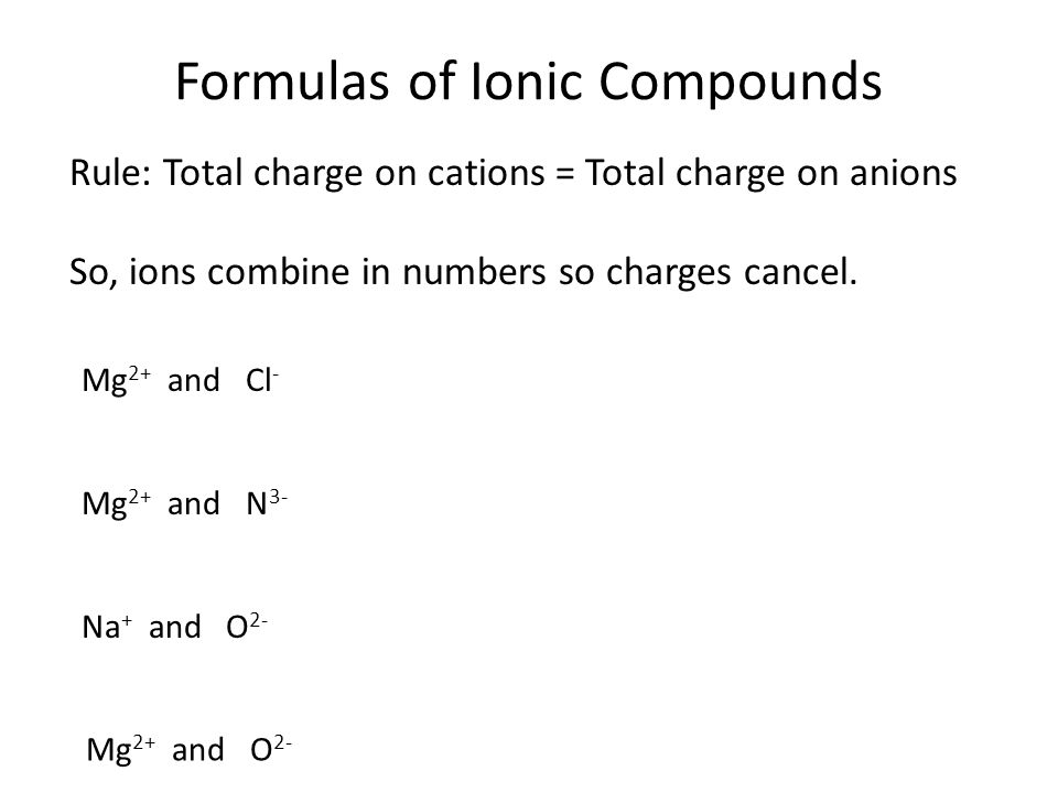 Formulas of Ionic Compounds Rule: Total charge on cations = Total charge on anions When multiple polyatomic ions are present, they are in parentheses.