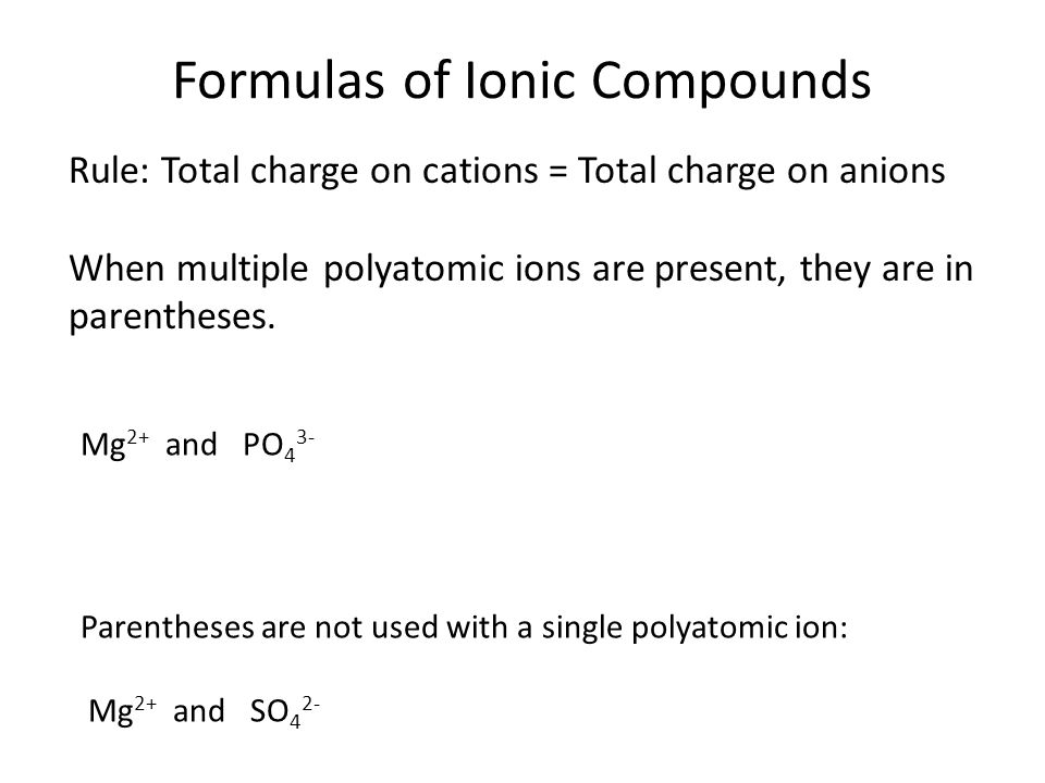 Formulas of Ionic Compounds Ionic compounds are extended structures: No molecules, so no molecular formula.