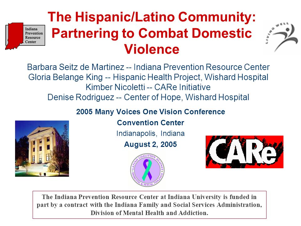 Organization of Presentation -- The Community: Background and Statistics -- Risk Factors: Vulnerabilities and Cultural Characteristics -- Solutions: Introducing the Latino Coalition Against Domestic Violence and Sexual Assault Thanks to the Center for Substance Abuse's Hispanic Initiative for the black and white photos used throughout this presentation.