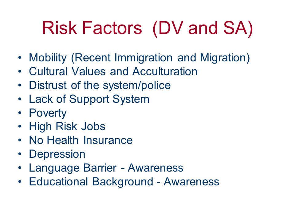 Risk Factor: Mobility Statistics –Recent Immigration Marion Co: 50% here 0-2 years (2000) Marion Co: 88% foreign born –Migration (migrant farmers, etc.) Effects –Stress, lack of support group,
