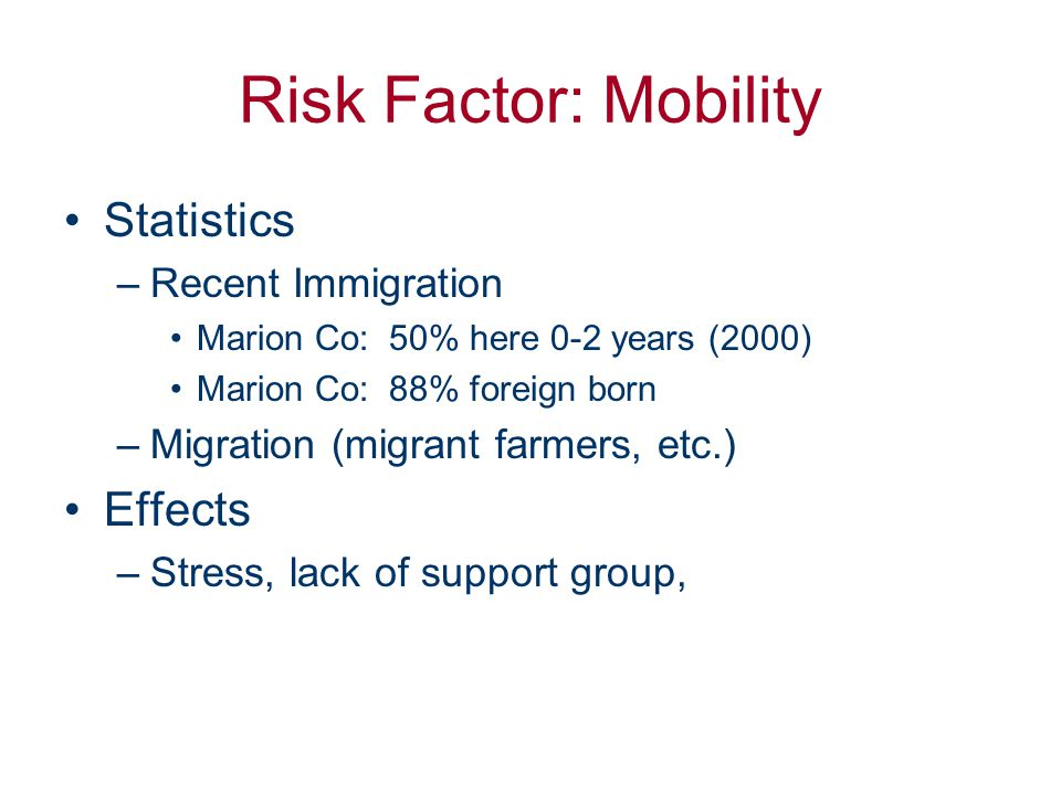 Risk Factor: Isolation Stats –Recent Immigration –Mobility in general Effects Stress Lack of Support System Difficulty knowing about and accessing resources