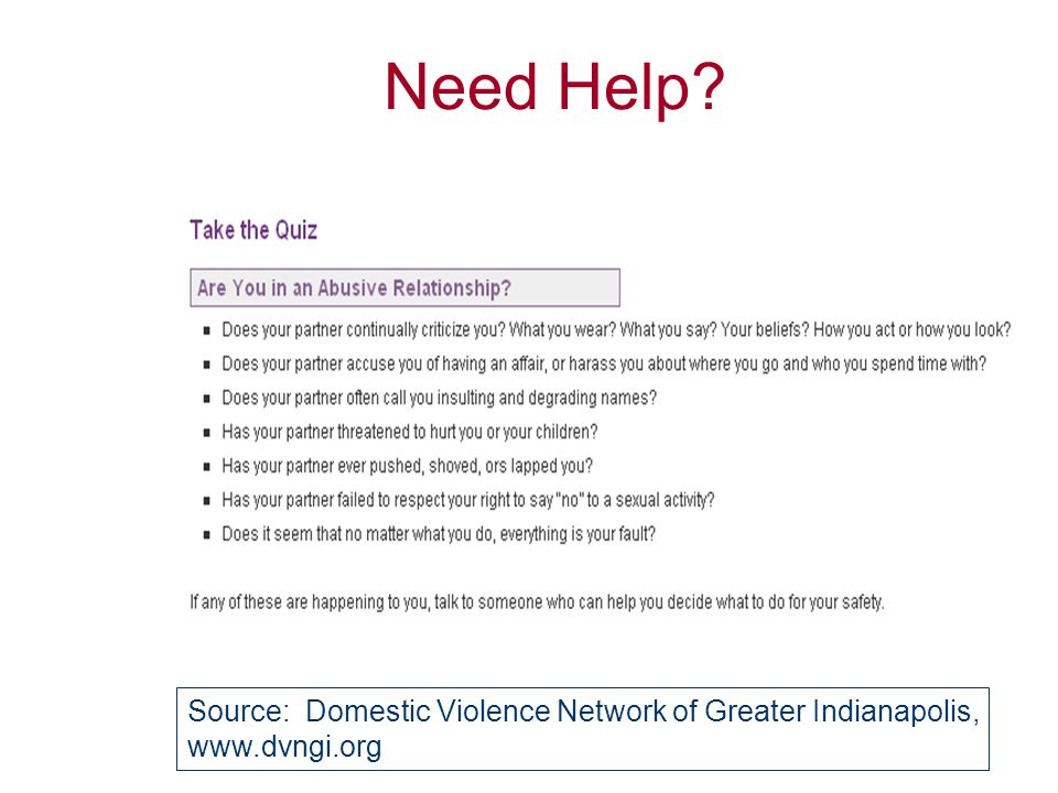 Need Help? Source: National Coalition Against Domestic Violence, www.ncadv.org