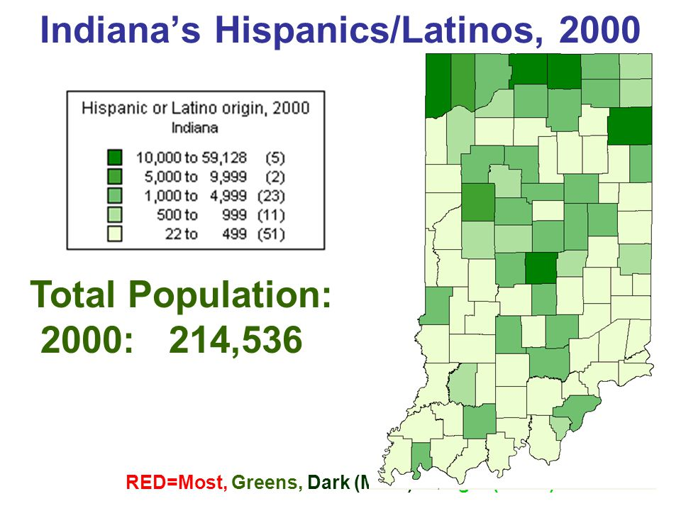 Top 10 Counties, Hispanic/Latino Population (No.) Percent of Total Population: 4.1 % Indiana's Hispanics/Latinos, 2003