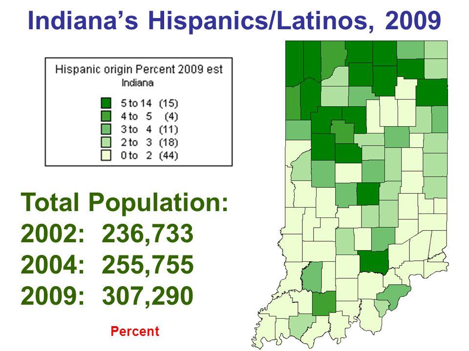 Hispanic/Latino Pop Growth 2004-9 Indiana Growth 20% Total Population: 2002: 236,733 2004: 255,755 2009: 307,290