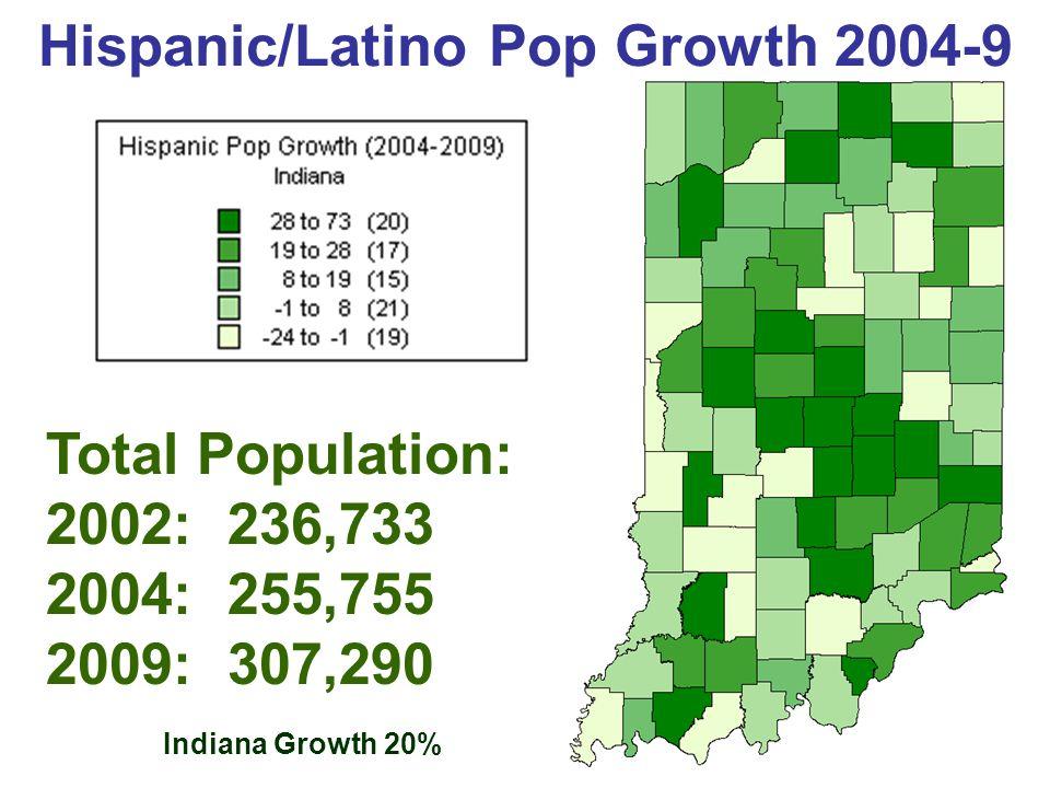 Indiana's Hispanics/Latinos U.S.Census Bureau; AGS, Core Demographics, 2000 (2001); 2004 est.
