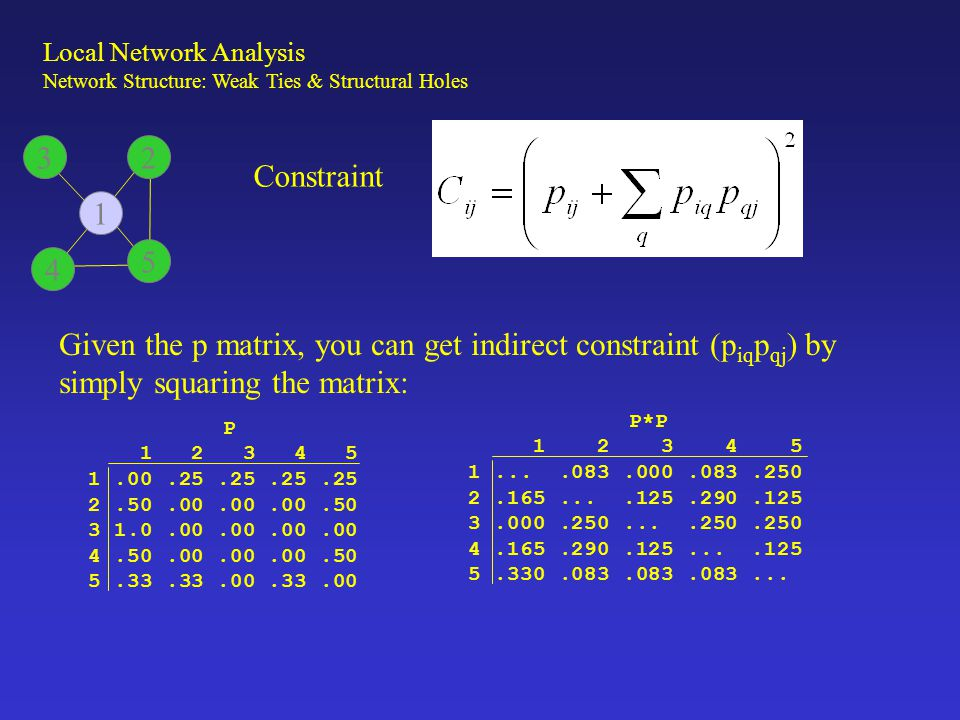 Constraint Total constraint between any two people then is: C = (P + P 2 )##2 Where P is the normalized adjacency matrix, and ## means to square the elements of the matrix.