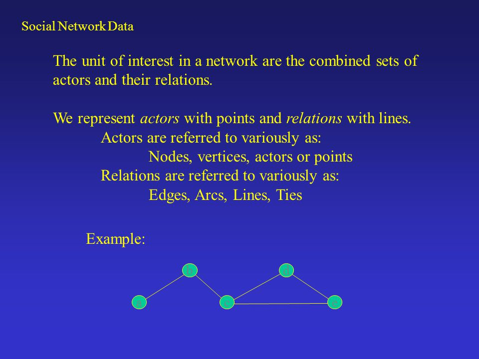 Social Network data consists of two linked classes of data: a)Nodes: Information on the individuals (actors, nodes, points, vertices) Network nodes are most often people, but can be any other unit capable of being linked to another (schools, countries, organizations, personalities, etc.) The information about nodes is what we usually collect in standard social science research: demographics, attitudes, behaviors, etc.