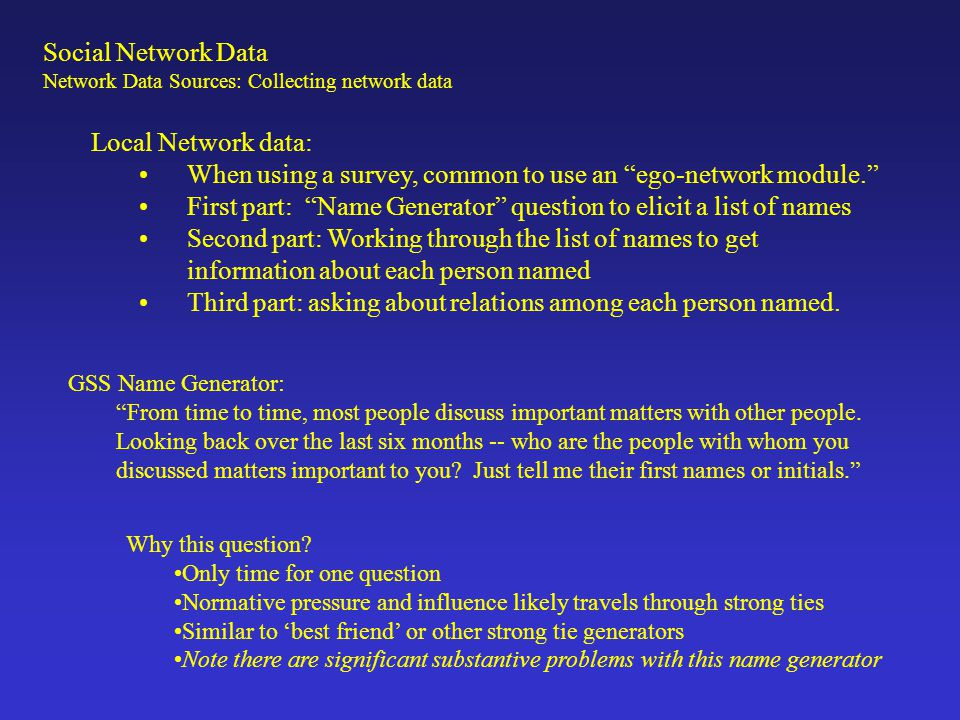 Electronic Small World name generator: Social Network Data Network Data Sources: Collecting network data