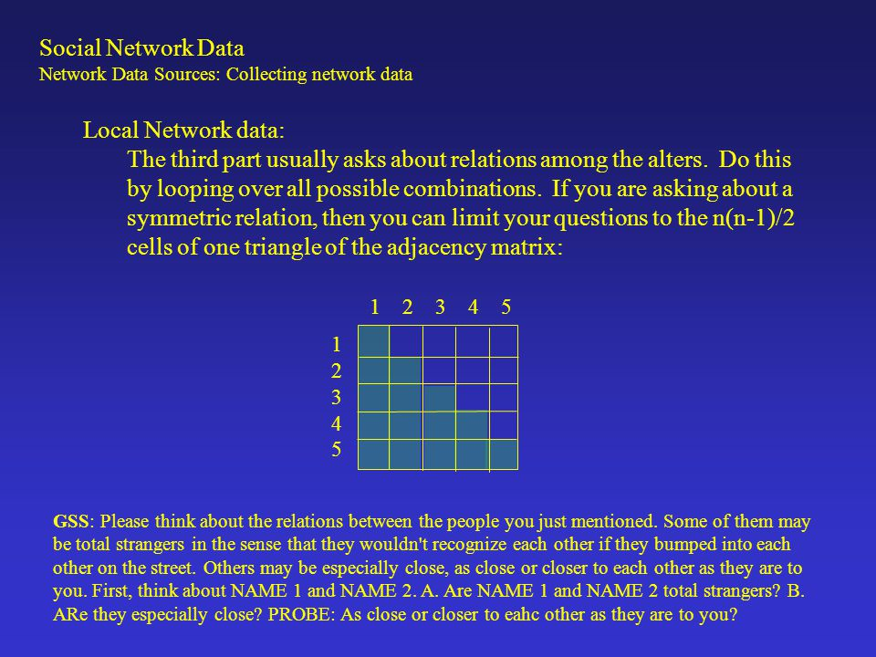 Local Network data: The third part usually asks about relations among the alters.