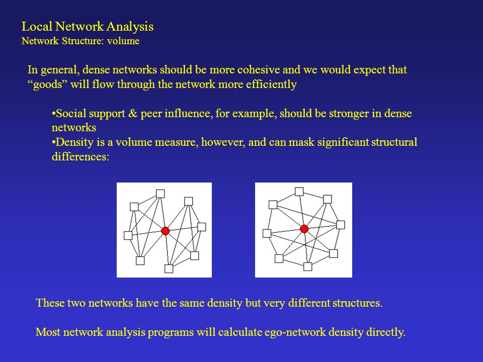 Local Network Analysis Network Structure: Weak Ties & Structural Holes The Strength of Weak Ties In a classic article, Granovetter (1972) argues that for many purposes (such as getting a job), the most useful network contacts are through weak ties. This is because weak ties connect you to a more diverse set of alters, increasing the 'range' of your network.