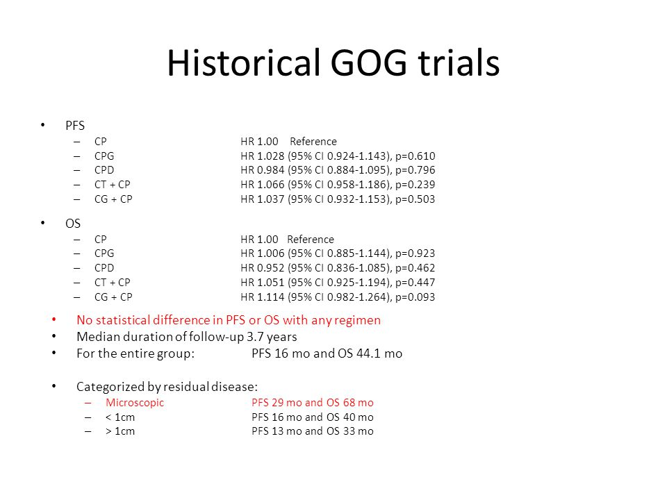Historical GOG trials Conclusions – Compared with standard paclitaxel and carboplatin, addition of a third cytotoxic agent provided no benefit in PFS or OS after optimal or suboptimal cytoreduction.