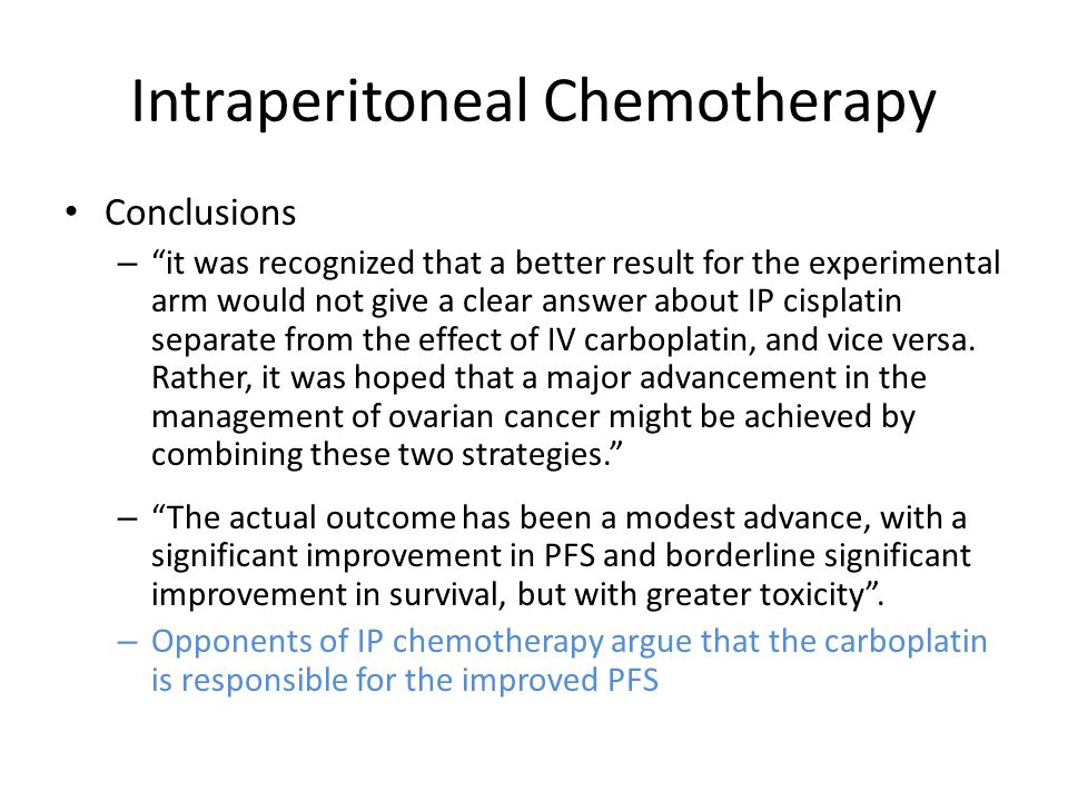 Intraperitoneal Chemotherapy Armstrong DK et al.