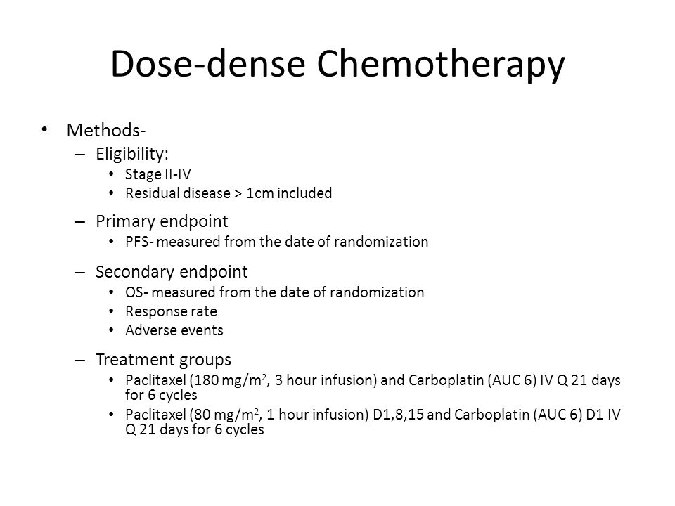 Dose-dense Chemotherapy Results – 632 patients – Stage II (19%) III (66%) IV (15%) – Serous histology (56%) – Grade 3 (24%) – Residual disease ≤ 1 cm (46%) – Primary debulking surgery (89%) StandardDose- dense P value N320312 Completed 6 cycles 73%62% Grade 3-4 Anemia44%69% p<0.0001 Response rate Complete response Partial response 54% 16% 38% 56% 20% 36% Deaths124 (39%)96 (30%) PFS17.2 mo28 moHR 0.71 (95% CI, 0.58-0.88), p=0.0015 OS (3-year)65.1%72.1%HR 0.75 (95% CI 0.57-0.98), p=0.03