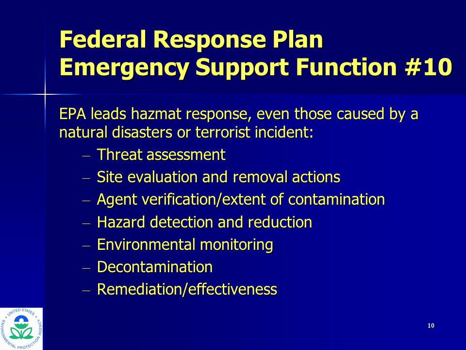 11 EPA Model for National Incident Coordination Organizational StructurePosition Executive CommitteeAdministrator/DA,RA,AA NICTHQ Sr Management RICTRegional Sr Managemnt Regional Operations CenterRemoval Manager Incident Command SystemOn-Scene Coordinator