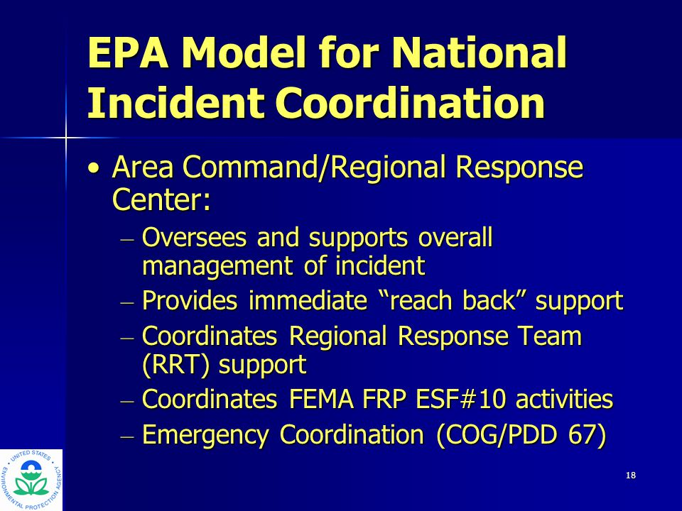 19 EPA Model for National Incident Coordination On-Scene Incident Command:On-Scene Incident Command: – Responsible for tactical emergency response decision making – Utilizes National Response System assets and resources, as needed – Coordinates with Local/State/Private Party – Becomes Unified Command where there is multi-jurisdictional involvement