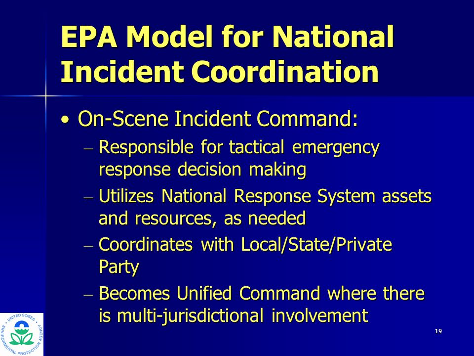 20 EPA Model for National Incident Coordination Support - -Backup Regions - -Special Teams - -Other Agencies - -Crisis Response Support Group** - -EPA Reserve Corps** - -National Building Decontamination Team** ** under development