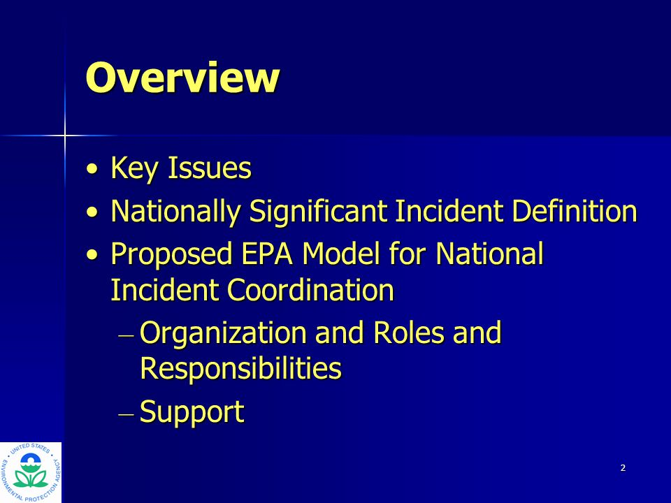 3 Key Issues EPA's experiences in responding to the acts of 9/11, the anthrax incidents, and most recently the Columbia recovery efforts, reinforce the importance of coordination.