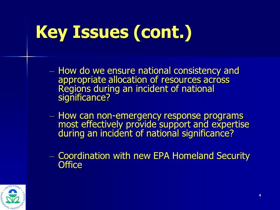 5 Nationally Significant Incident (NSI) Characteristics: Response exceeds regional resourcesResponse exceeds regional resources Simultaneous similar events in one region or nationallySimultaneous similar events in one region or nationally Major impact on operation of other EPA programsMajor impact on operation of other EPA programs Unique technical or policy issues requiring HQ involvementUnique technical or policy issues requiring HQ involvement