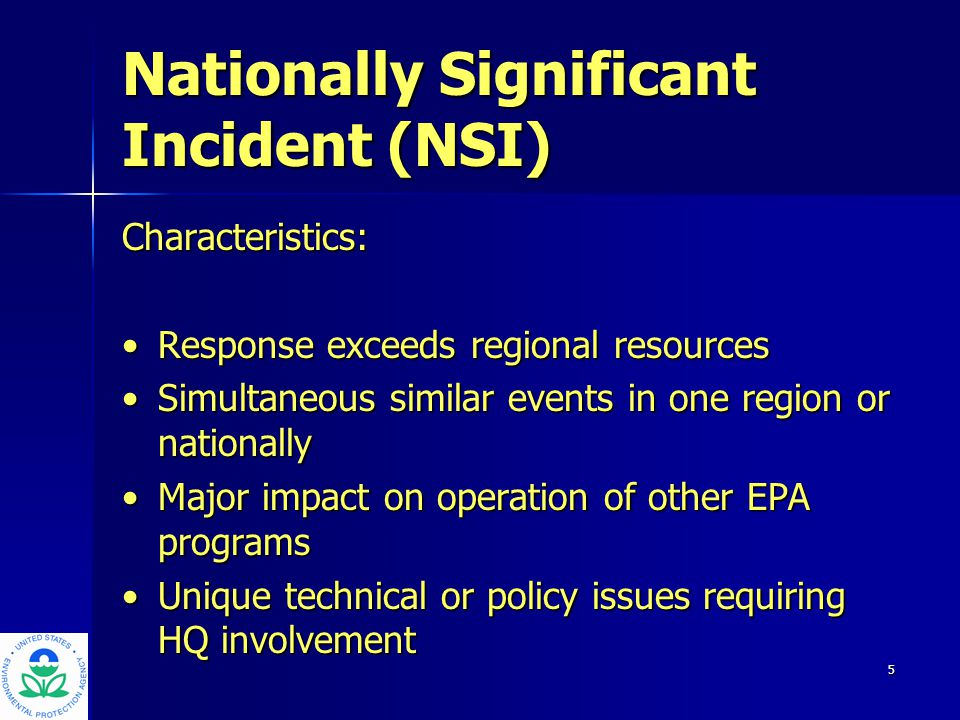 6 Response Authorities STATUTORYSTATUTORY – Comprehensive Environmental Response, Compensation, and Liability Act – Emergency Planning and Community Right- To-Know Act – Clean Water Act – Resource Conservation and Recovery Act REGULATORYREGULATORY – National Contingency Plan (NCP) – Federal Response Plan (FRP) – Federal Radiation Emergency Response Plan