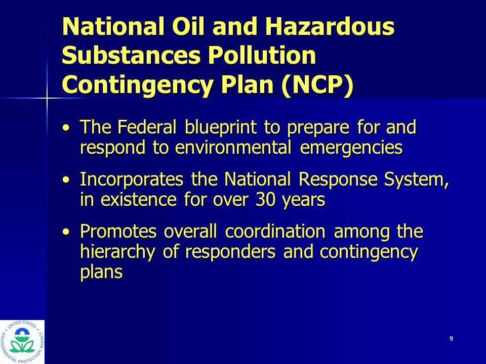 10 Federal Response Plan Emergency Support Function #10 EPA leads hazmat response, even those caused by a natural disasters or terrorist incident: – Threat assessment – Site evaluation and removal actions – Agent verification/extent of contamination – Hazard detection and reduction – Environmental monitoring – Decontamination – Remediation/effectiveness