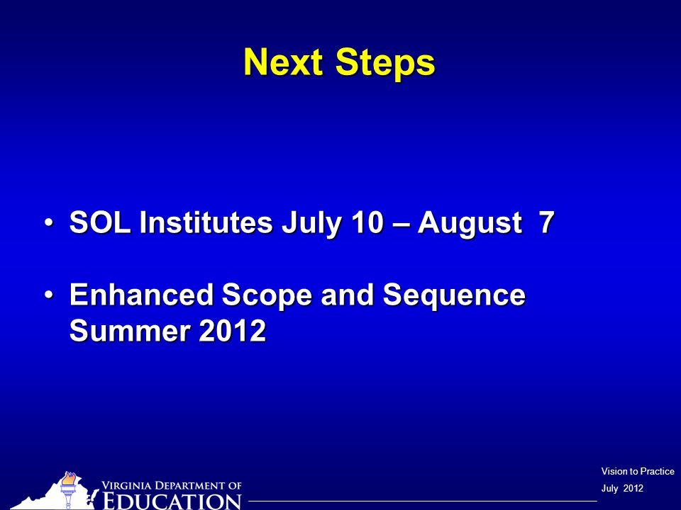 Vision to Practice July 2012 English SOL Tests