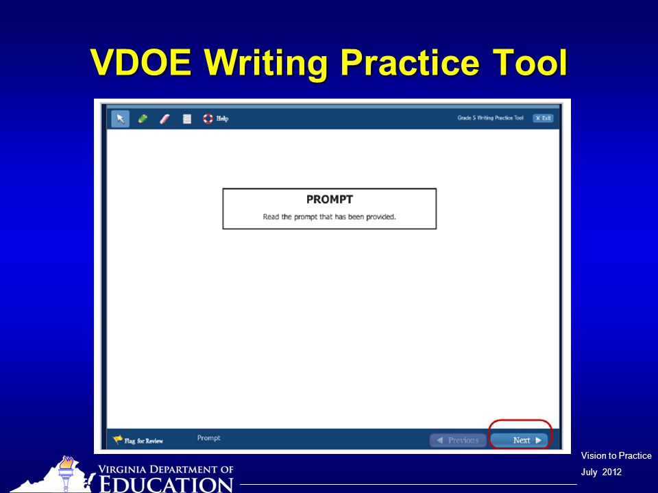 Vision to Practice July 2012 VDOE Writing Practice Tool Progress bar Current line location Typing tools