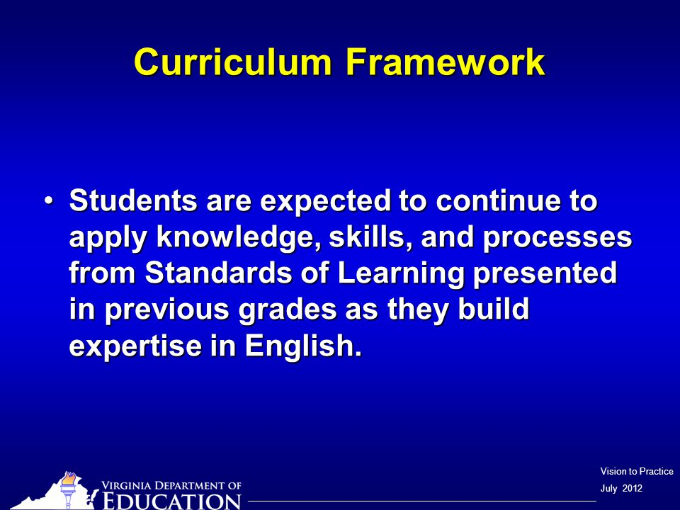 Vision to Practice July 2012 Curriculum Framework Assessment items may not and should not be a verbatim reflection of the information presented in the Curriculum Framework.Assessment items may not and should not be a verbatim reflection of the information presented in the Curriculum Framework.