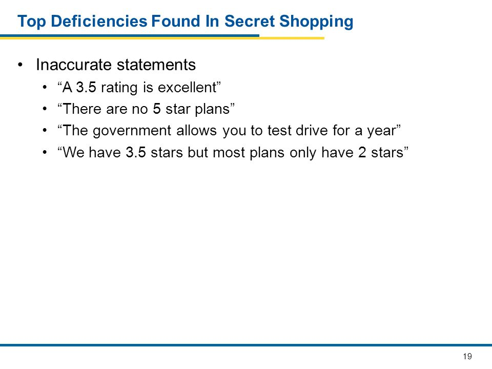 20 Top Deficiencies in Secret Shopping Inappropriate statements I don't know how long you'll have a choice CMS will penalize you if you don't enroll in a Medicare plan or a stand-alone prescription drug plan Original Medicare is a disaster Original Medicare won't be around You can't win with CMS