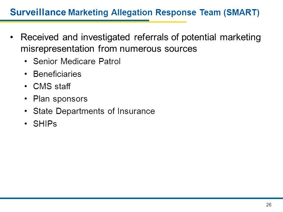 27 SMART Referrals Types of referrals/allegations received Door to door solicitation Inaccurate statements made by agents/brokers Third party marketing Unapproved marketing materials General inquiries