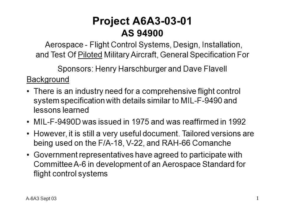 2 Project A6A3-03-01 AS 94900 Scope.
