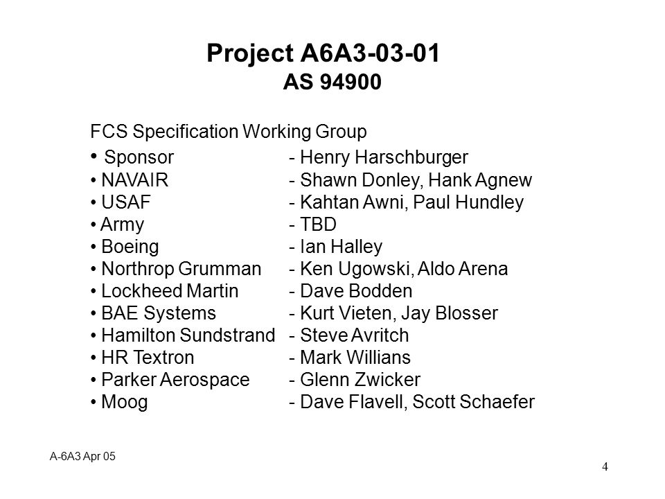 5 Project A6A3-03-01 AS 94900 Plan/Tasks: Because of size of document Flight Control Panel approved change in balloting process to review document in three major parts - June 2004 1.Table of contents, cross ref.