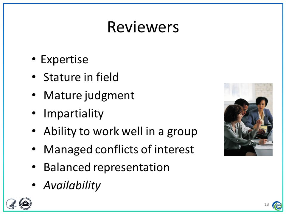 Types of Reviewers Regular reviewers – Participate in committee discussions – Contribute preliminary impact scores, criterion scores, written critiques, final impact scores Mail reviewers – Contribute preliminary impact scores, criterion scores, written critiques – Do not participate in committee discussion – Cannot submit final impact scores 19