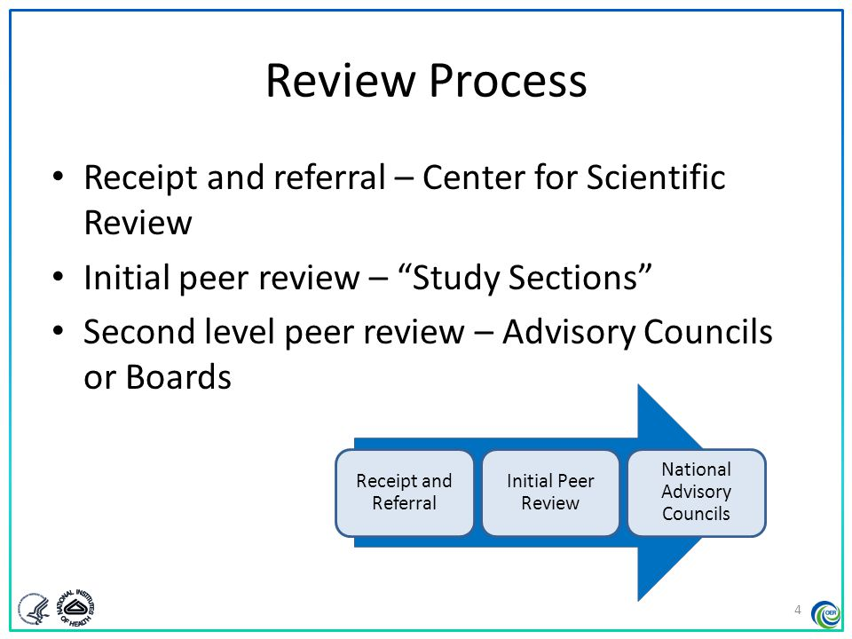 NIH Grants Process - Overview Application  NIH Center for Scientific Review (CSR) Assignments made  Initial peer review Funding considerations Study section Institutes or Centers (ICs) IC or CSRDuals possible Scientific Review Officer Program Officer   Second level of review  Funding decisions Council or Board (IC)IC Director  Award.
