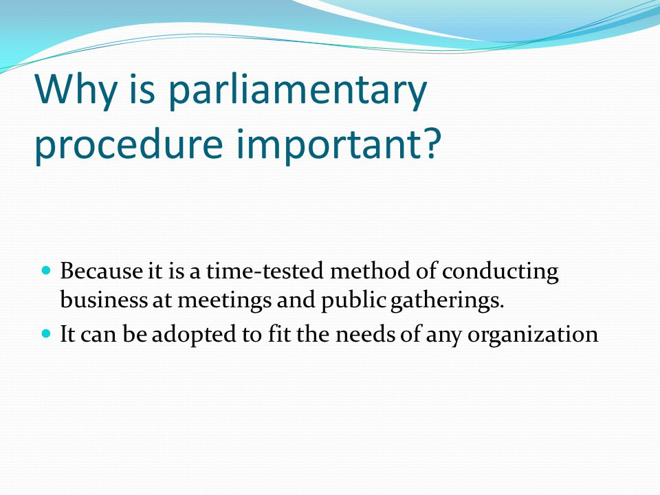Parliamentary Procedure means: Democratic Rule Flexibility Protection of Rights A Fair Hearing for Everyone.