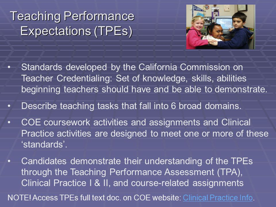  Performance issues on Teaching Performance Expectations (TPEs) are reported and addressed through a Statement of Concern document.