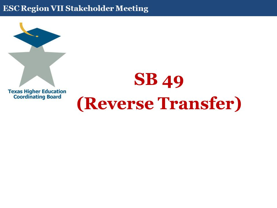 SB 498 (Reverse Transfer) (b) This section applies to a student enrolled in a general academic teaching institution who: (1) transferred to the institution from or previously attended a lower-division institution of higher education; (2) earned at least 30 credit hours for course work successfully completed at the lower-division institution of higher education; and (3) has earned a cumulative total of at least 66 [90] credit hours for course work successfully completed.